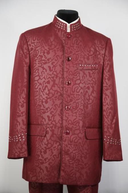 Mens Mandarin Collar Rhinestone Red Flap Two Pocket Zoot Suit