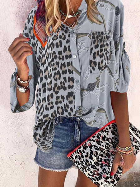 Yoins Button Design Leopard Crew Neck Long Sleeves Blouse
