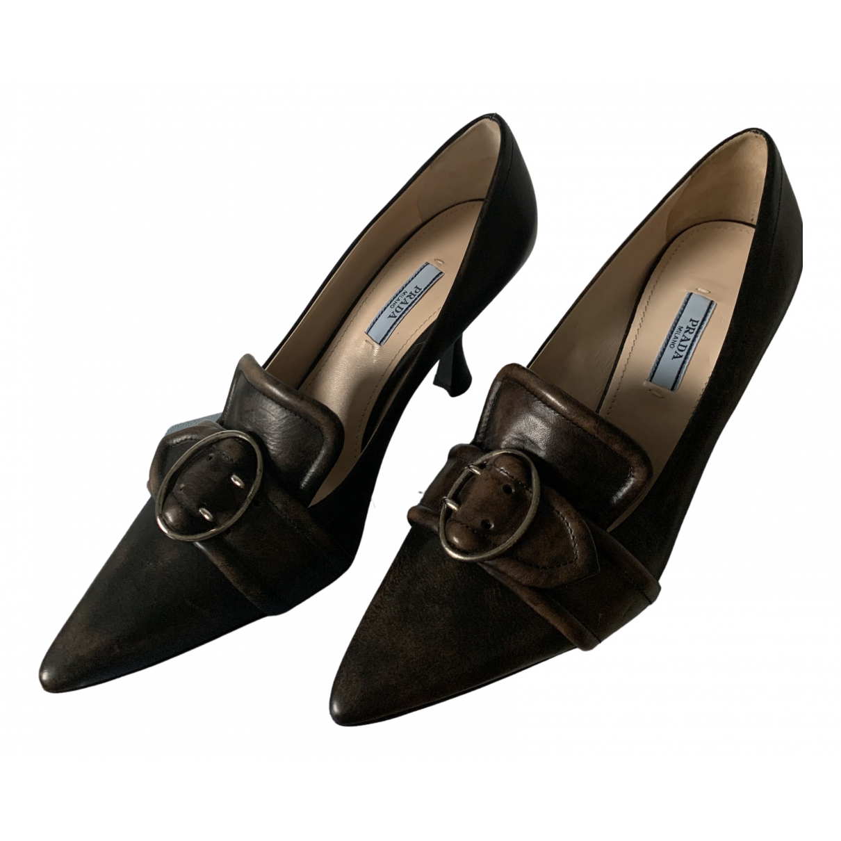 Prada \N Brown Leather Heels for Women 38 EU