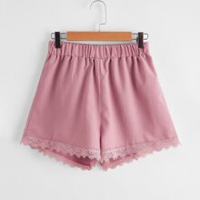 Solid Lace Trim Shorts