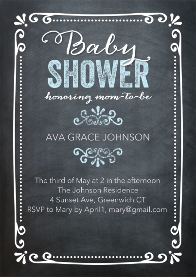 Baby Shower Invitations 5x7 Cards, Standard Cardstock 85lb, Card & Stationery -Baby ShowerChalkboard