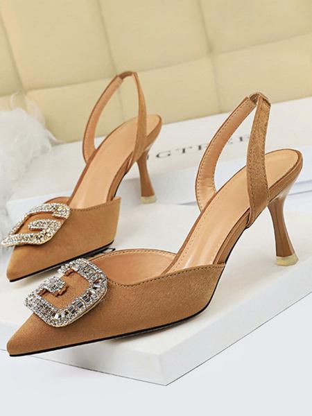 Milanoo Women\'s Pumps High Heels Black Ointed Toe Slingbacks Women\\'s Shoes For Work