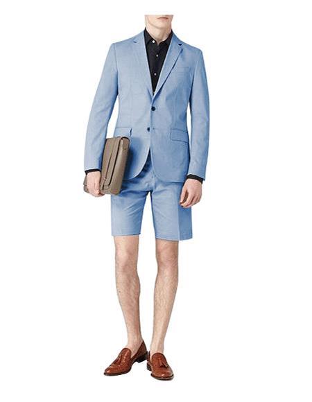 Light Blue Single Breasted Suit Notch Lapel