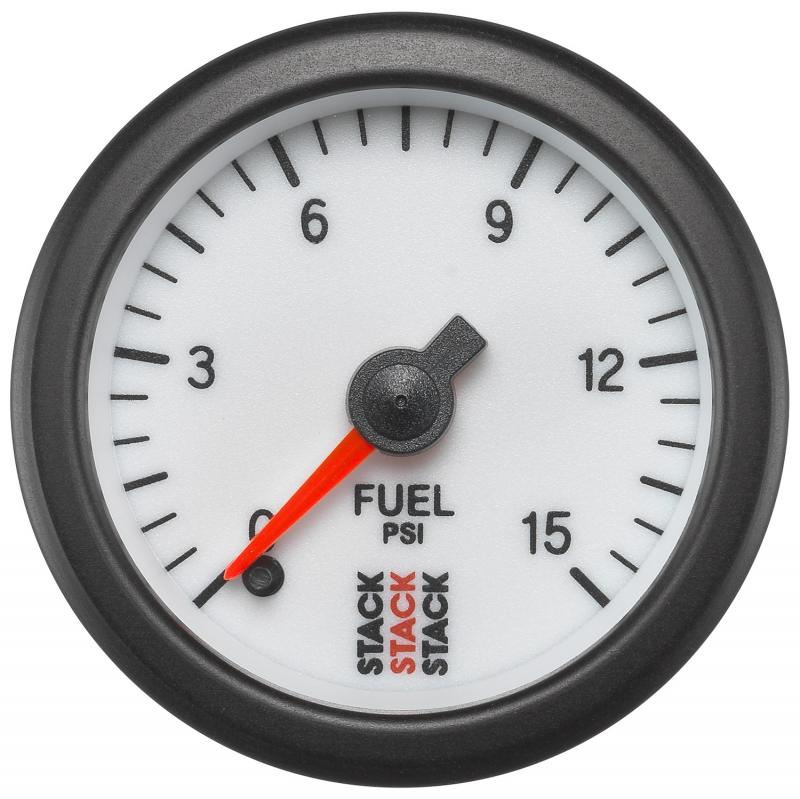 AutoMeter GAUGE; FUEL PRESS; PRO STEPPER MOTOR; 52MM; WHT; 0-15PSI; 1/8in. NPTF MALE