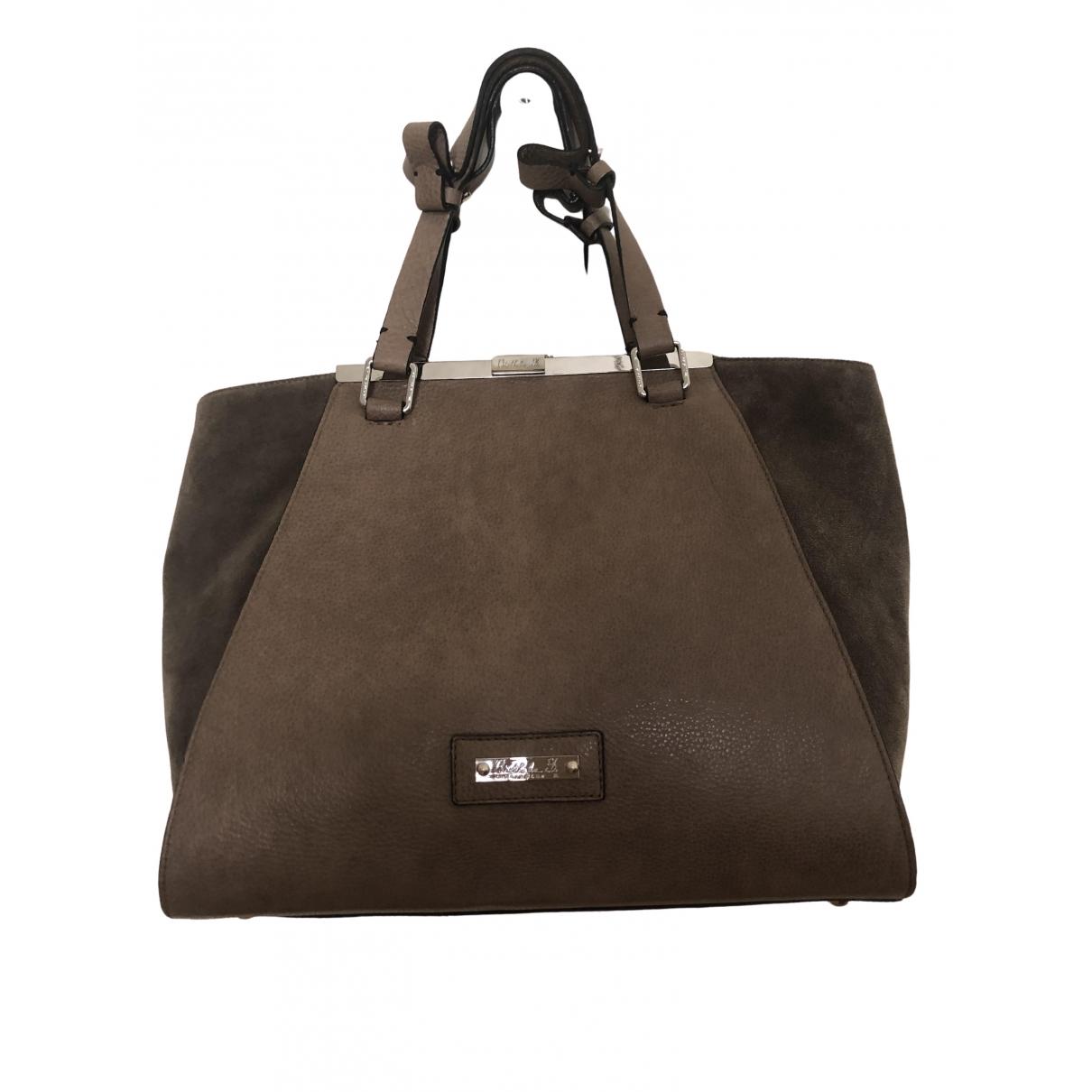 Non Signé / Unsigned \N Ecru Leather handbag for Women \N