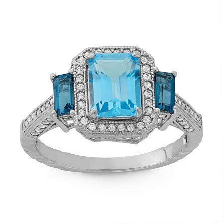 Womens Genuine Blue Topaz Sterling Silver Side Stone Cocktail Ring, 6 , No Color Family