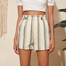 Striped Paper Bag Waist Shorts