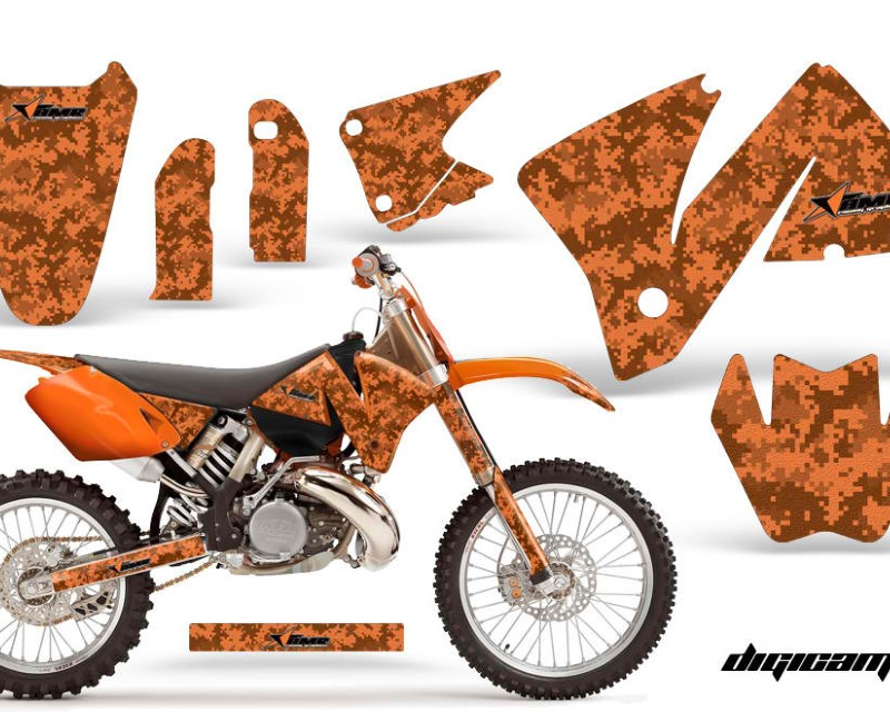 AMR Racing Dirt Bike Decal Graphic Kit Wrap For KTM EXC 200-520 MXC 200-300 2001-2002áDIGICAMO ORANGE