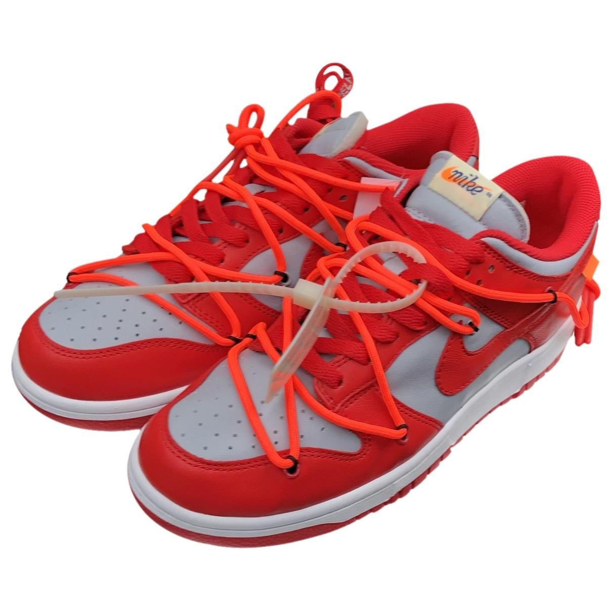 Nike X Off-white - Baskets Dunk Low pour homme en cuir - rouge