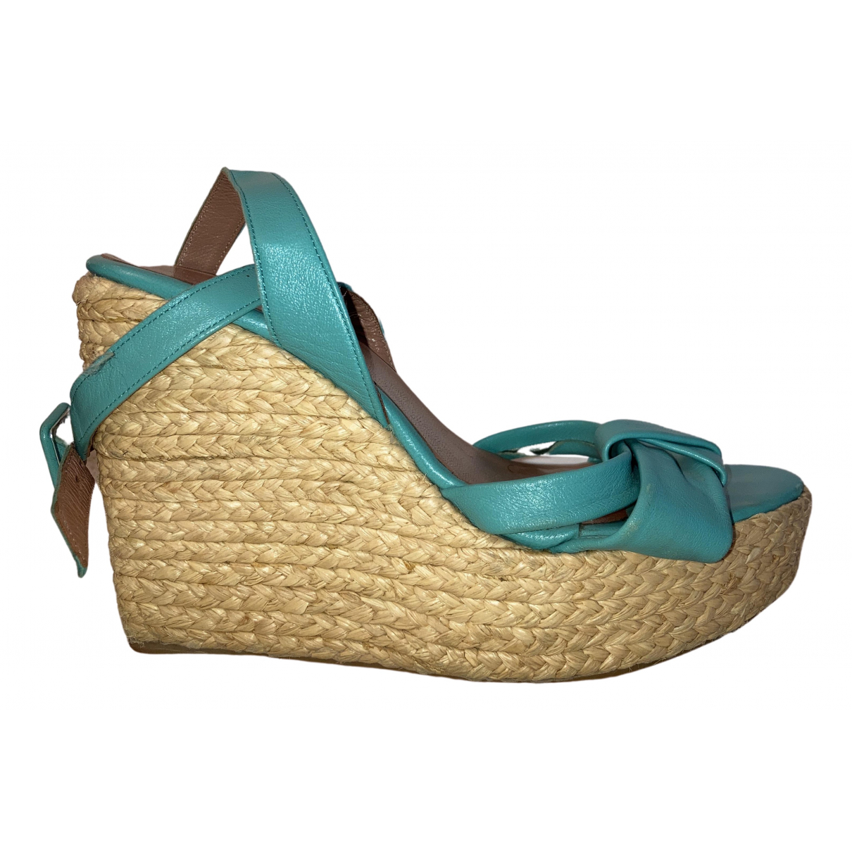 Robert Clergerie N Turquoise Leather Sandals for Women 37 EU