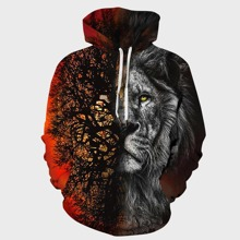 Men Lion And Tree Print Drawstring Hoodie