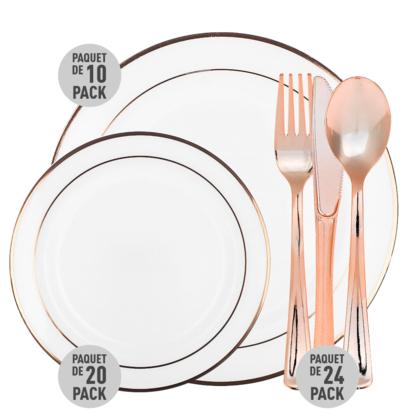 Combo vaisselle plastique 5 kits pour 8 invités, blanc avec bordure en or rose - LIVINGbasics™