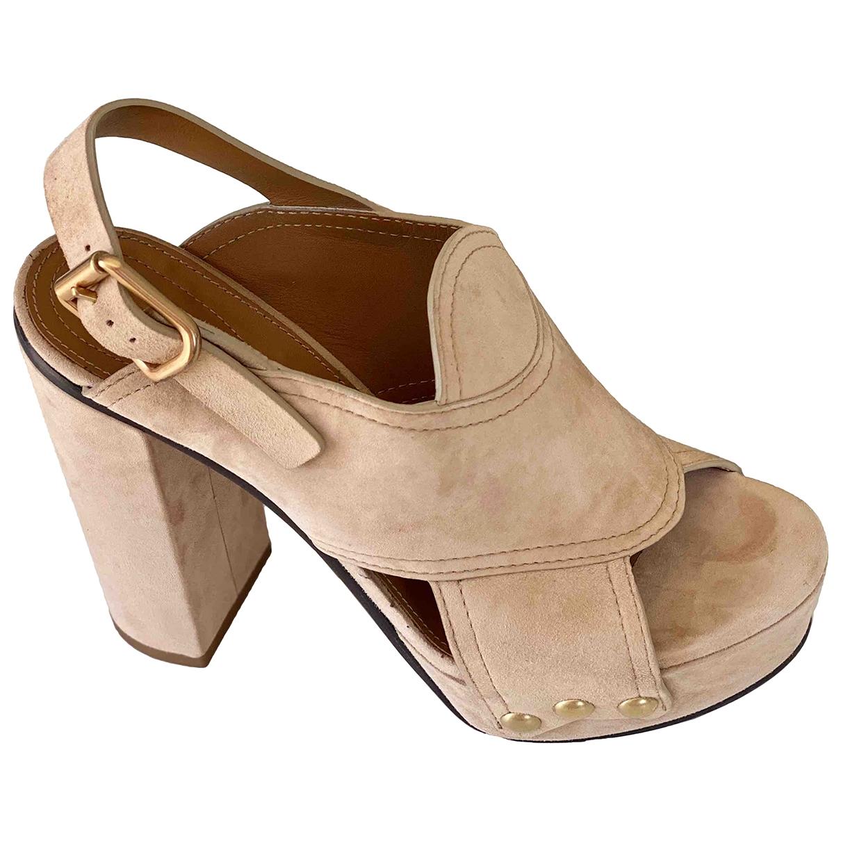 Chloé \N Beige Velvet Sandals for Women 38 EU