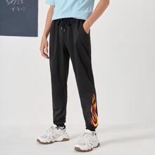 Men Fire Print Drawstring Sweatpants