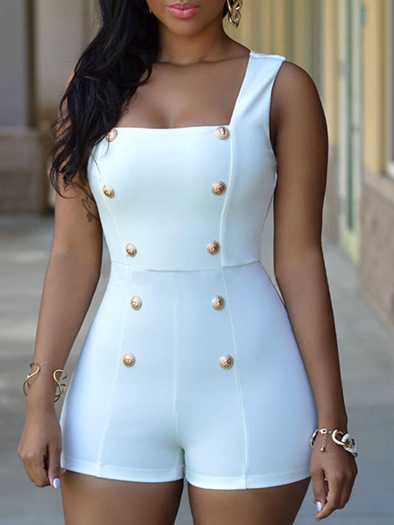 Ericdress Slim Double-Breasted Rompers