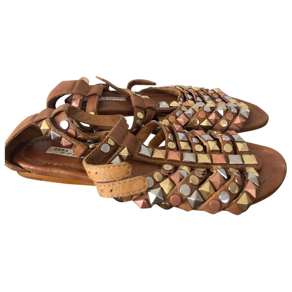 Zara \N Sandalen in  Beige Leder
