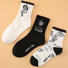3 Paar Socken mit Karikatur Grafik