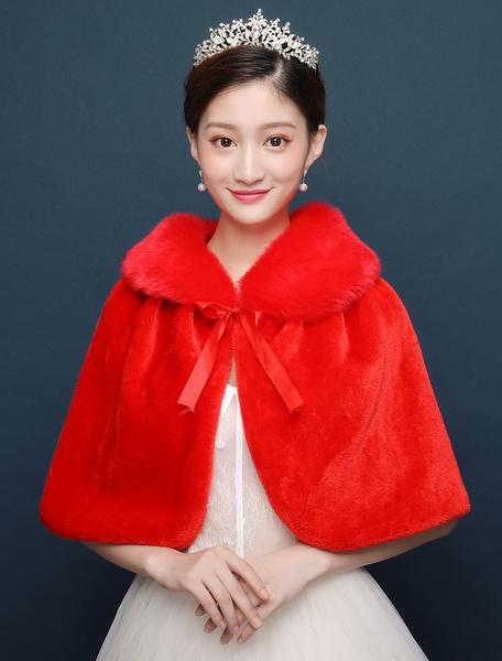 Milanoo Abrigo nupcial chal de piel sintetica Poncho rojo nupcial de invierno cubierta Ups