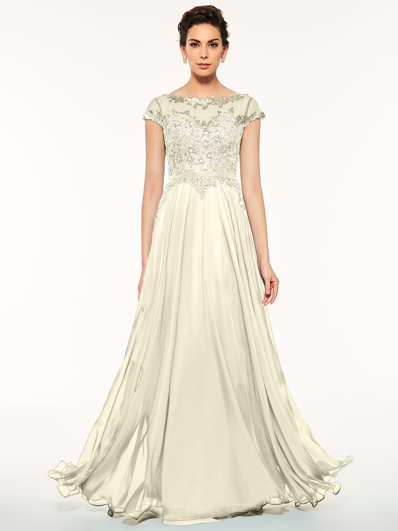 Ericdress Bateau Neck Appliques Beaded Mother of the Bride Dress