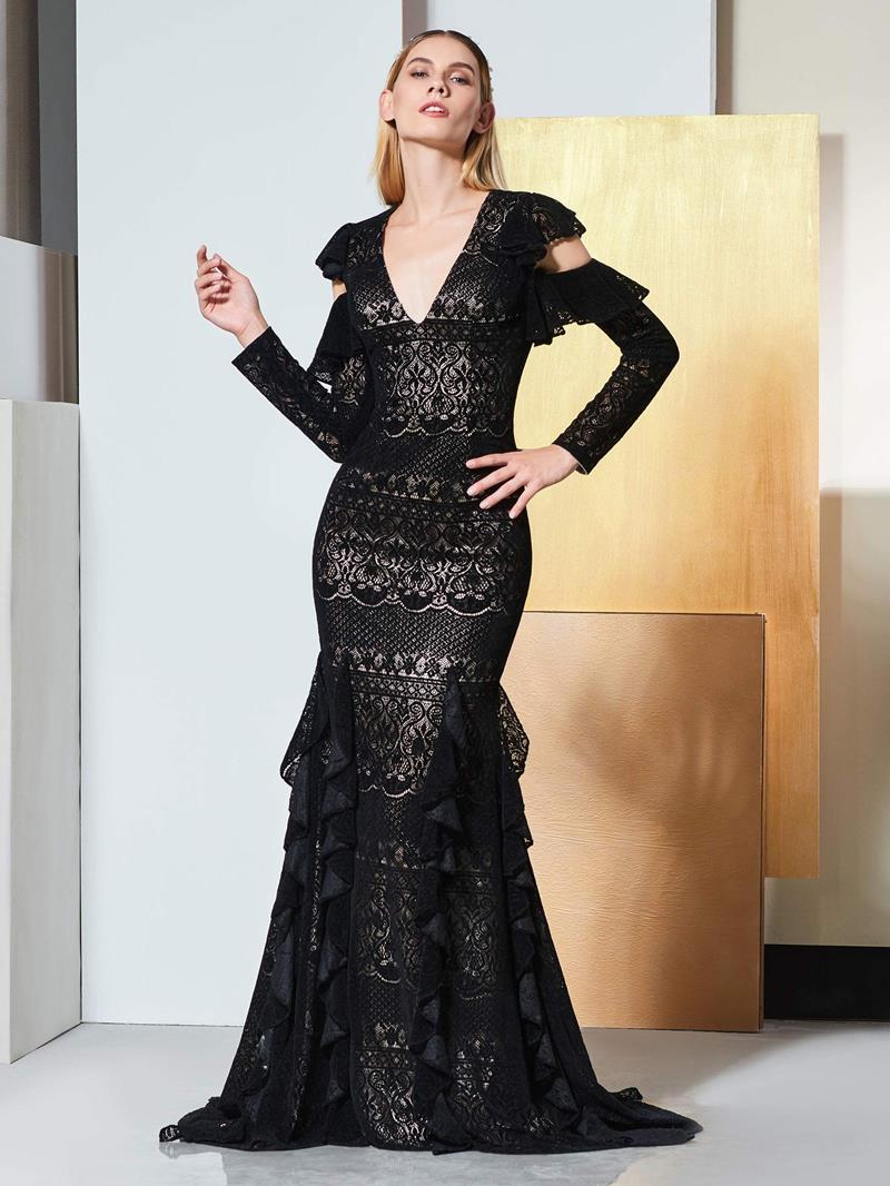 Ericdress Long Sleeve Lace Mermaid Black Evening Dress