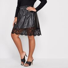 Plus PU Contrast Lace Paperbag Waist Skirt