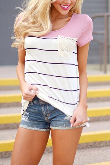 Yoins Stripe Pattern Stitching Short Sleeves T-shirts in Pink