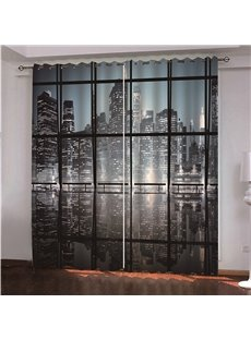 3D Skyscraper at Night Printed City Night Scenery Blackout Scenery Curtain
