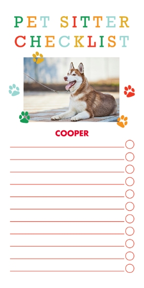 Pets Flat Glossy Photo Paper Cards with Envelopes, 4x8, Card & Stationery -I'll Have The Woofles Checklist