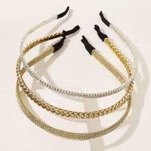 3pcs Metal Rhinestone Decor Hair Hoop