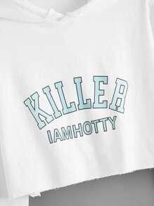 Letter Graphic Drawstring Hooded Sweatshirt