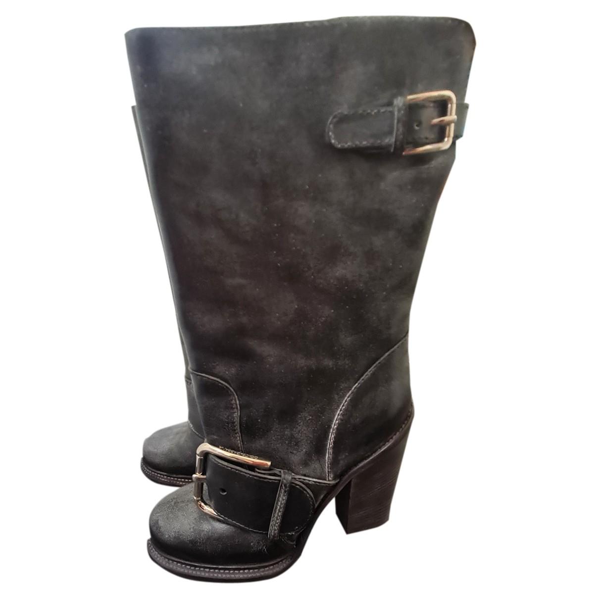 Dolce & Gabbana N Grey Leather Boots for Women 38 EU