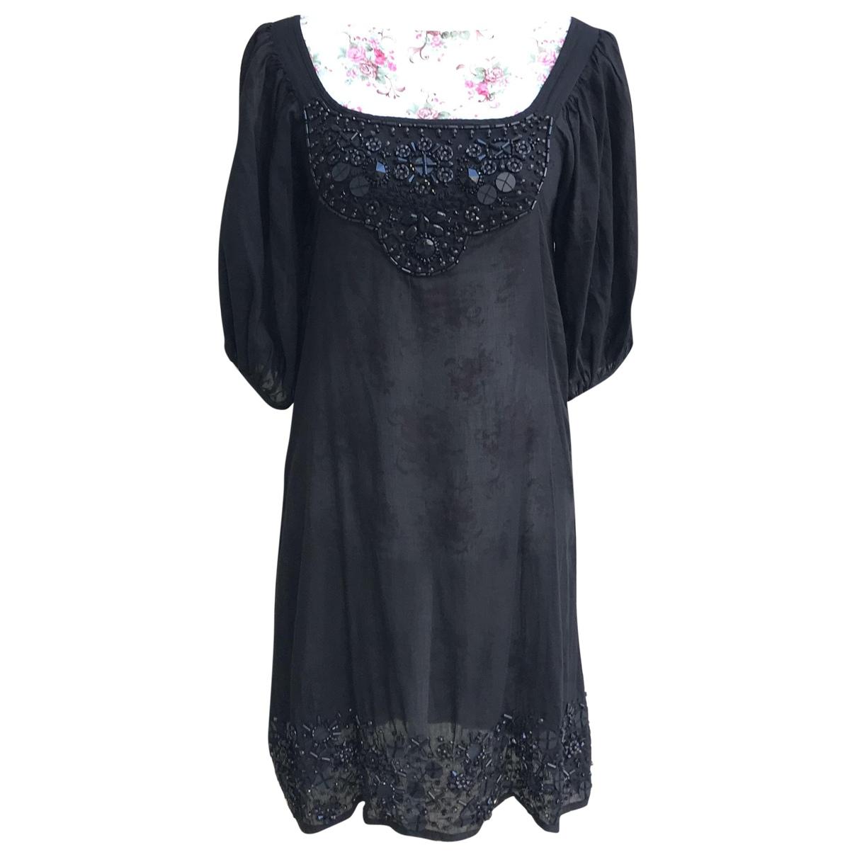 Antik Batik \N Kleid in  Schwarz Leinen