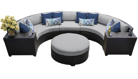 Barbados BARBADOS-06c-GREY 6-Piece Wicker Patio Set 06c with 3PC Curved Sectional  2 Cup Tables and Round Coffee Table - Wheat and Grey