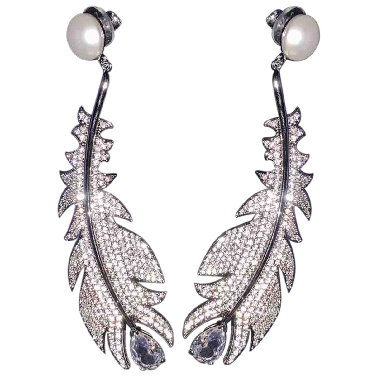 Swarovski - Boucles doreilles   pour femme en perle - blanc