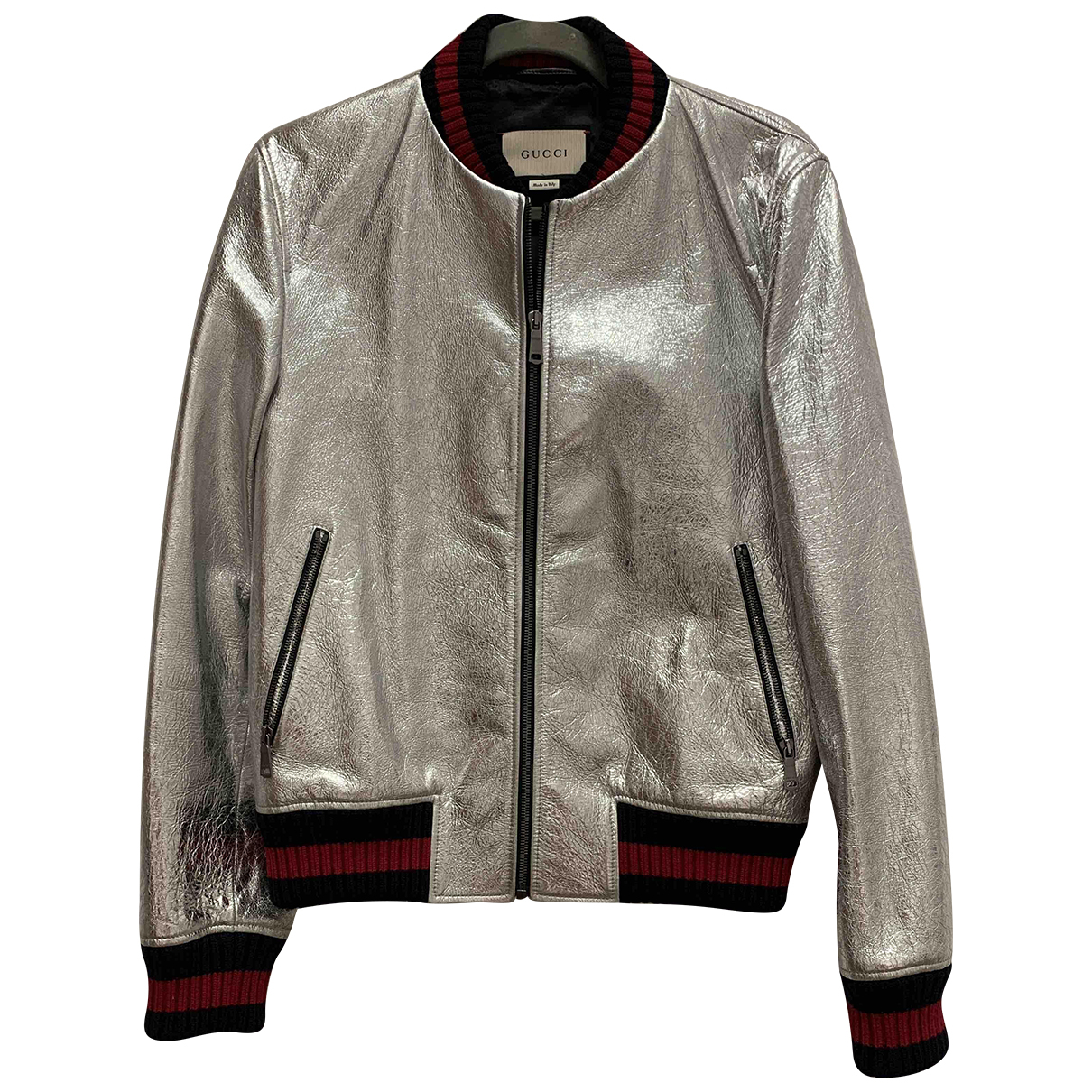 Gucci N Silver Leather jacket  for Men 46 IT