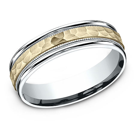 6MM 10K Two Tone Gold Wedding Band, 7 , No Color Family