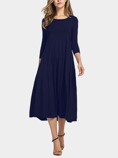 Yoins Navy Round Neck 3/4 Length Sleeves Madi Dress