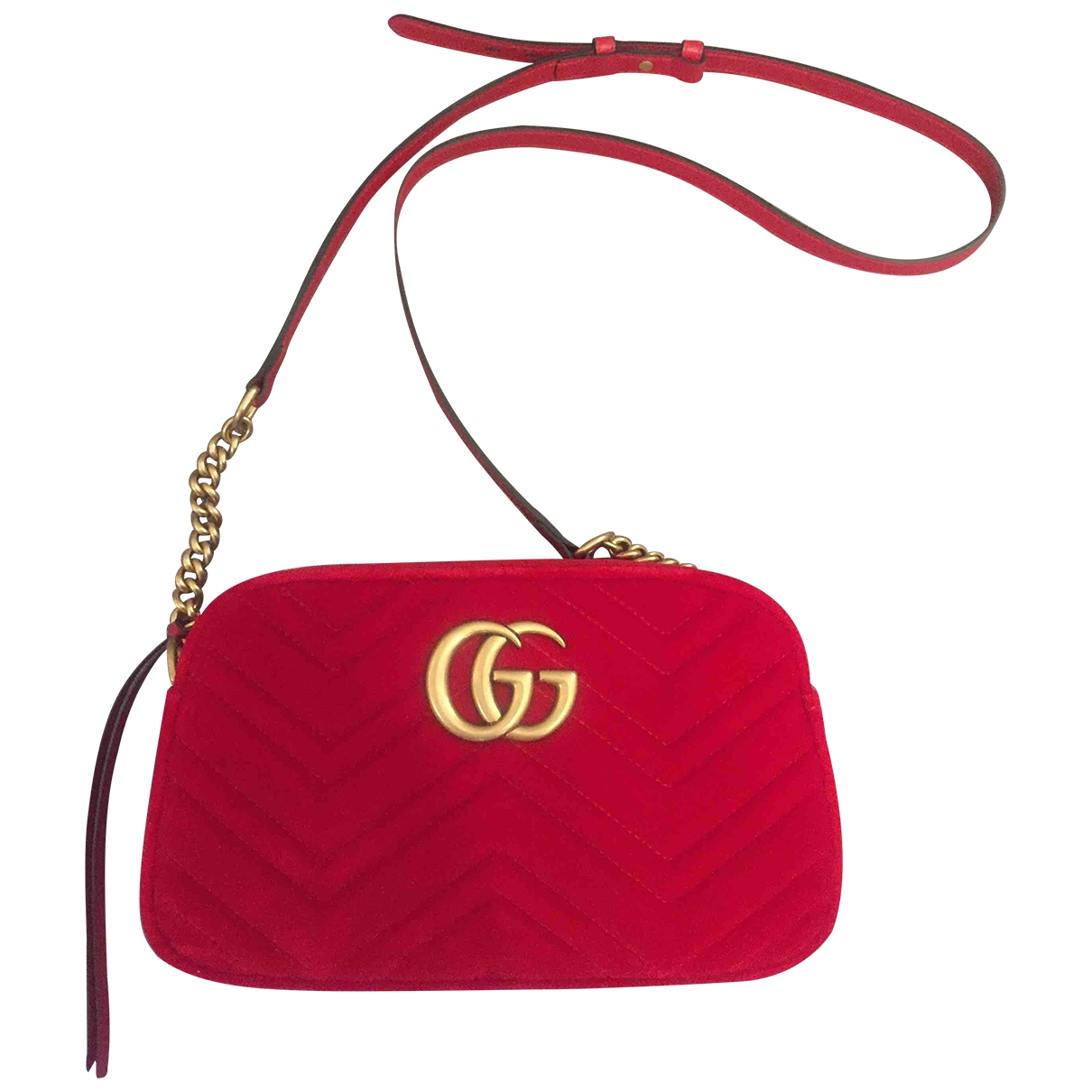 Gucci Marmont Handtasche in  Rot Samt
