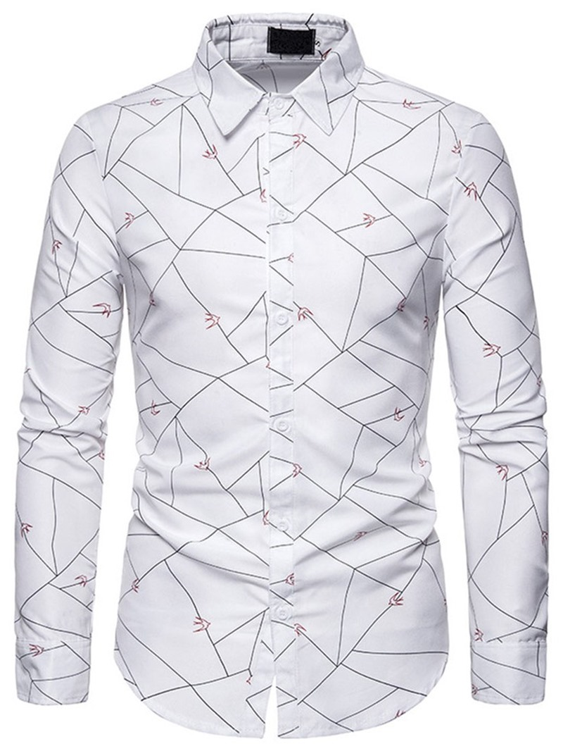 Ericdress Color Block Lapel Casual Slim Men's Shirt