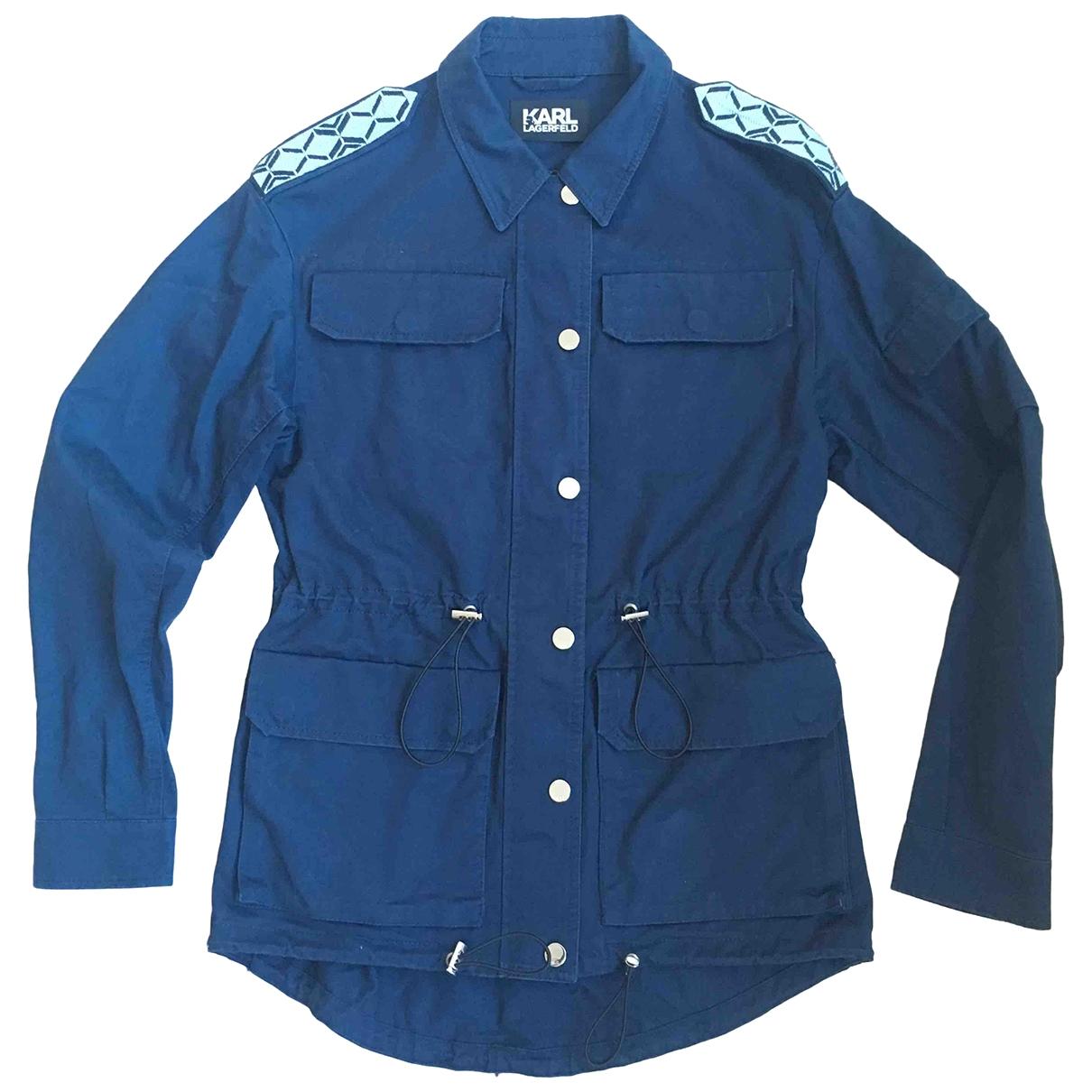 Karl Lagerfeld - Veste   pour femme en coton - bleu