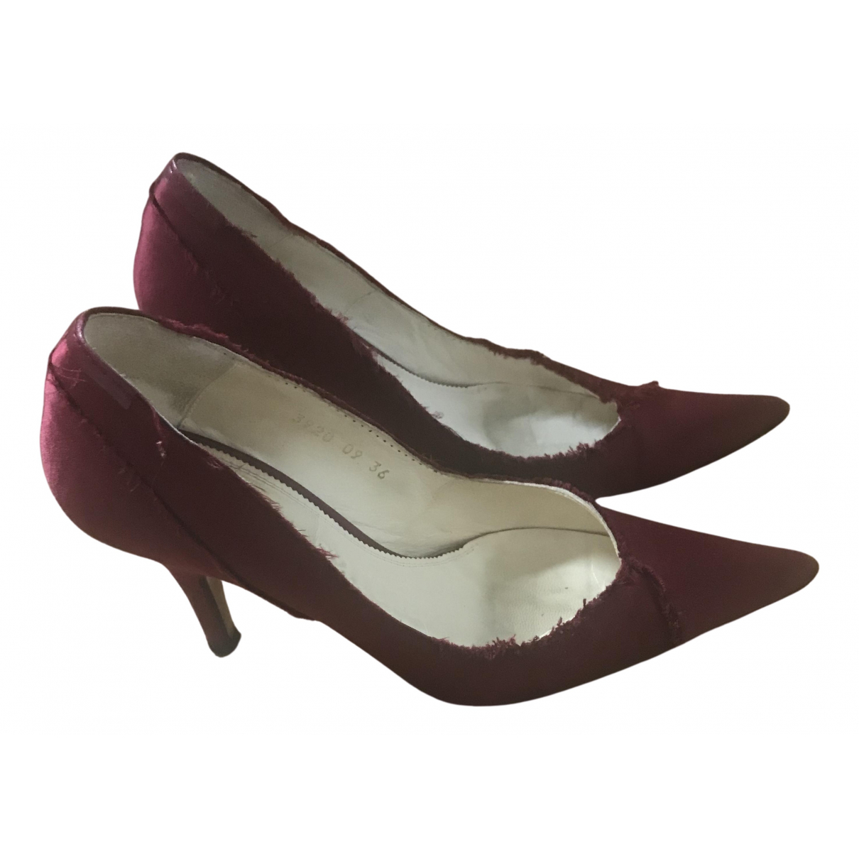 Pedro Garcia N Burgundy Cloth Heels for Women 36 EU