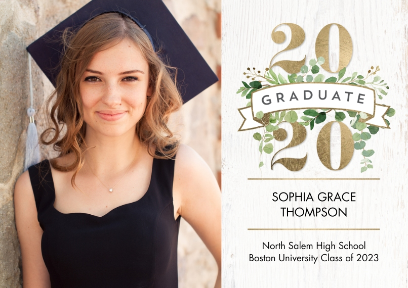 2020 Graduation Announcements Flat Matte Photo Paper Cards with Envelopes, 5x7, Card & Stationery -Graduate 2020 Floral Banner by Tumbalina