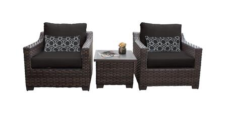 RIVER-03a-BLACK Kathy Ireland Homes and Gardens River Brook 3-Piece Wicker Patio Set 03a - 1 Set of Truffle and 1 Set of Onyx
