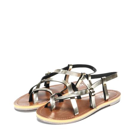 Yoins Gold Crossing Strap Flat Sandals