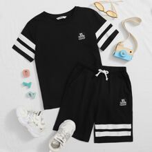 Boys Striped Tape Detail Patched Top & Shorts Set
