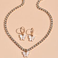 3pcs Rhinestone Butterfly Decor Jewelry Set