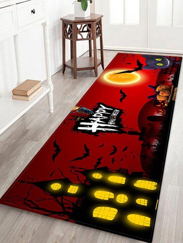 Halloween Pumpkin Bat Castle Printed Floor Rug