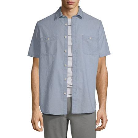 Arizona Mens Short Sleeve Button-Down Shirt, Large , Blue