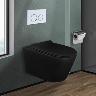 In-Wall toilet Combo Set -  Toilet, Tank (2 x 4 Wall), Carrier System (Black Bowl - White Round - Push Plates (Plastic))