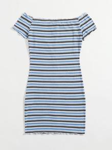 Plus Off Shoulder Buttoned Front Striped Dress